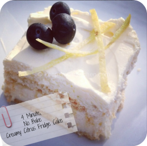 4 minute, no bake, creamy lemon/lime fridge cake